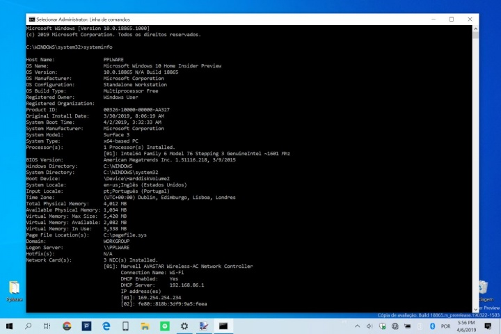 Windows 10 especificaciones de equipo de datos rápidamente