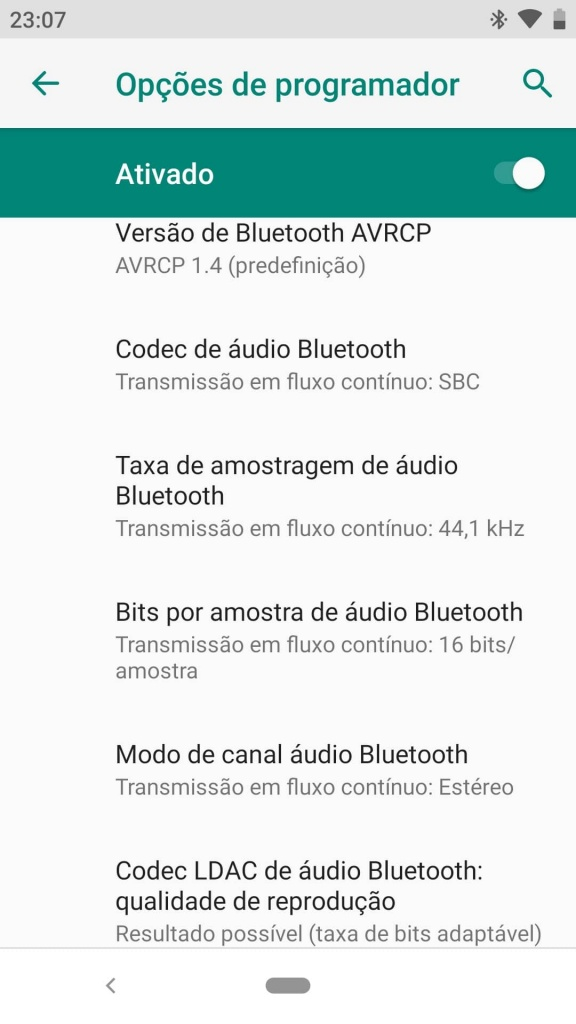 Android Bluetooth Audio Auriculares codec