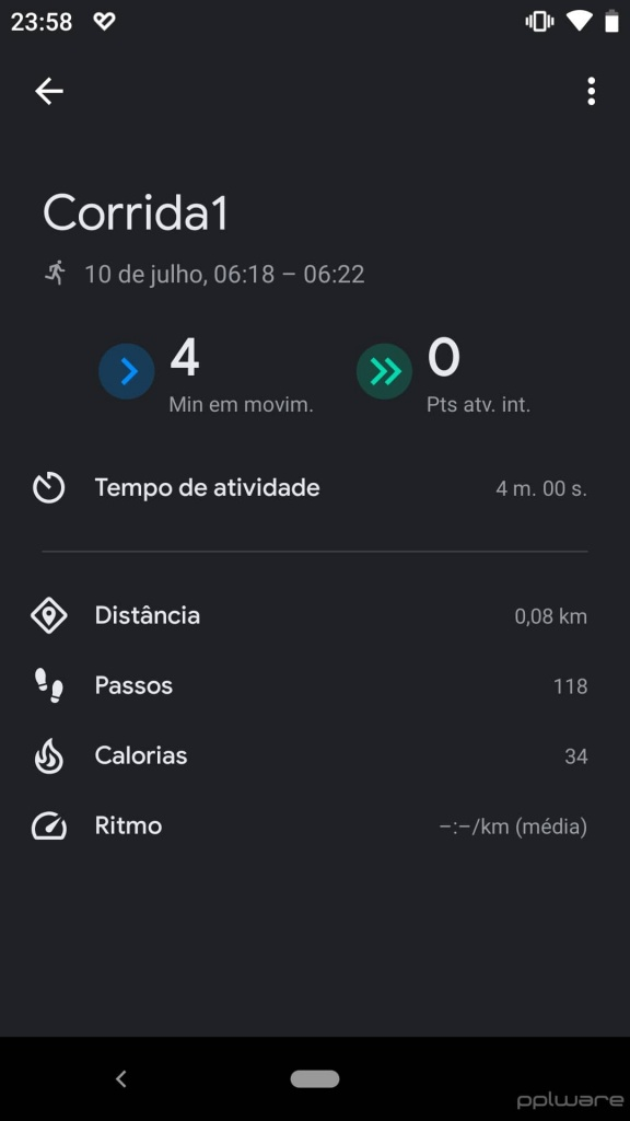 Aplicación Google Fit Dark Mode