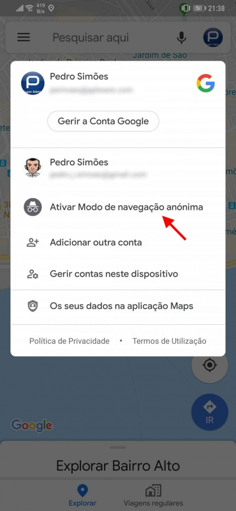 Google Maps Incognito Android