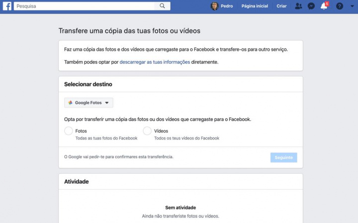 Cómo transferir fotos de Facebook a Google Photos