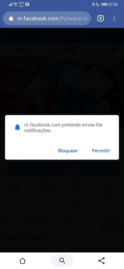 Notificaciones discretas del navegador Chrome Android