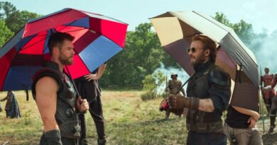 Avengers: Infinity War Set Photo - Thor and Cap with Umbrellas