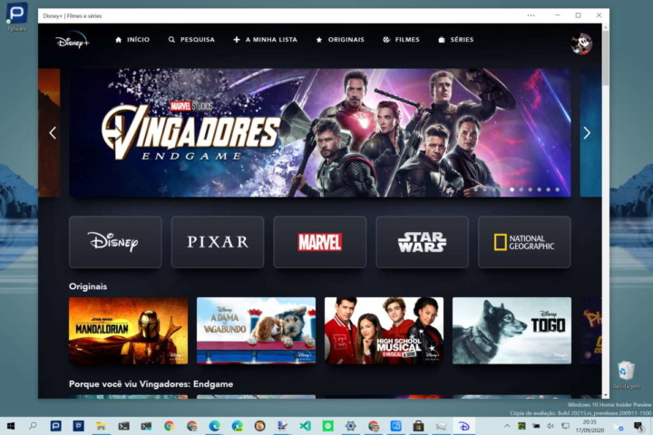 Navegador Disney + PWA Windows 10 macOS